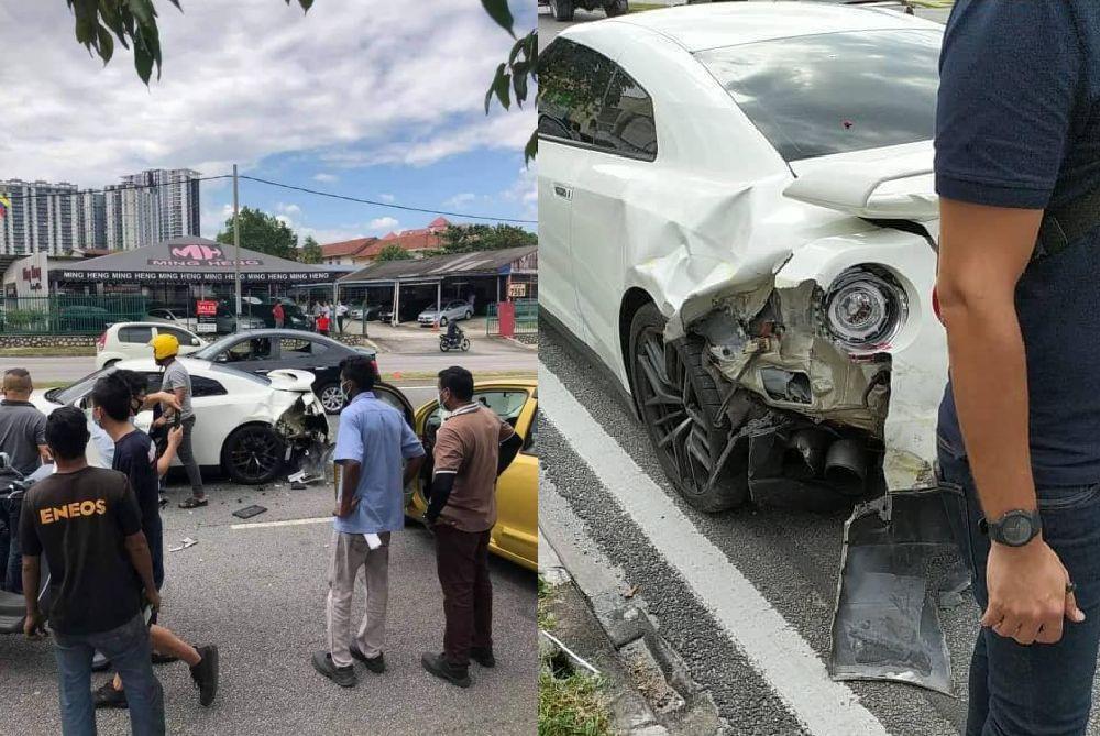 GT-R ini turut mengalami kerosakan di bahagian belakang setelah dirempuh Myvi.