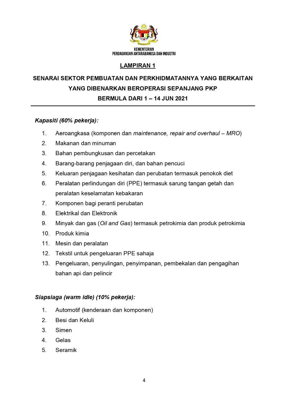 senarai sektor kilang yang dibenarkan buka,pkp 3.0,lockdown
