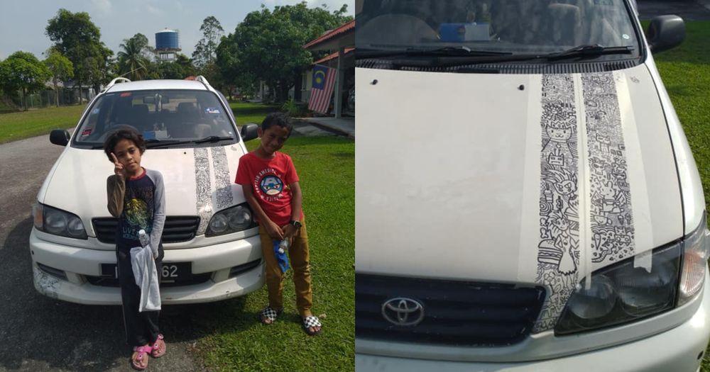 Anak conteng kereta Toyota Ipsum Doodle Sofea