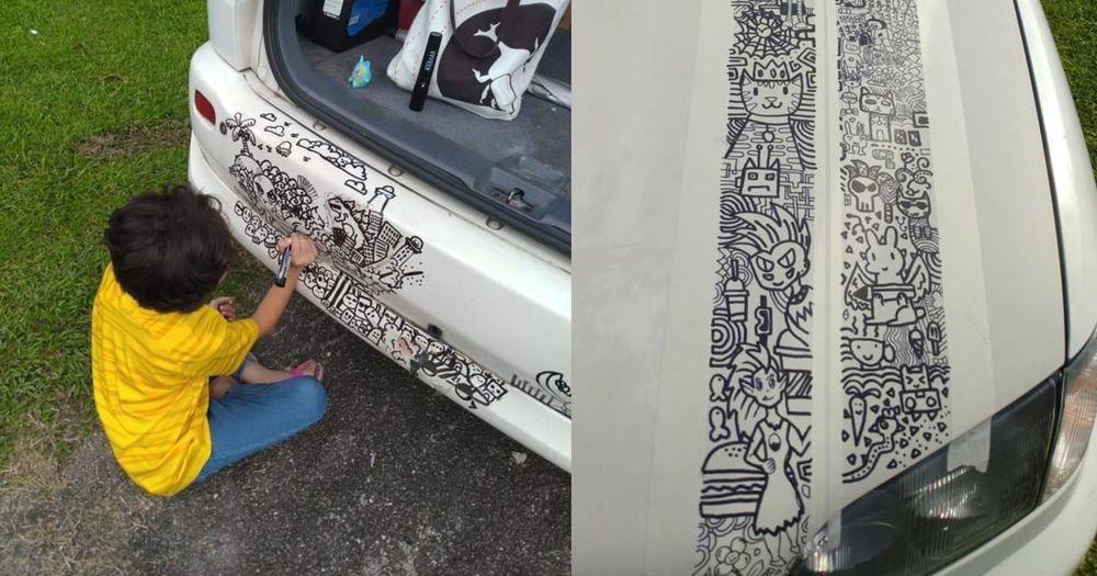 Sofea Asyraf Farid conteng Toyota Ipsum miliknya.