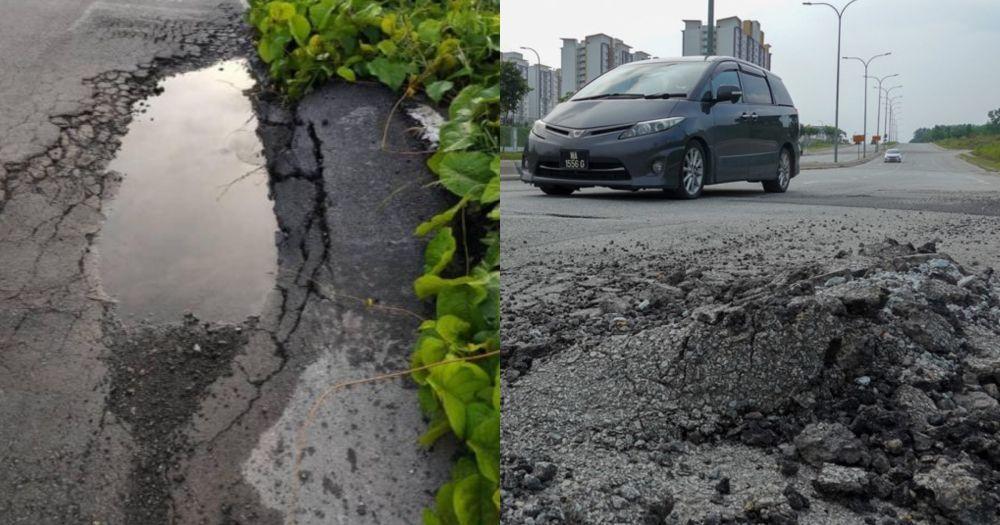jalan berlubang,permukaan jalan teruk,punca kemalangan