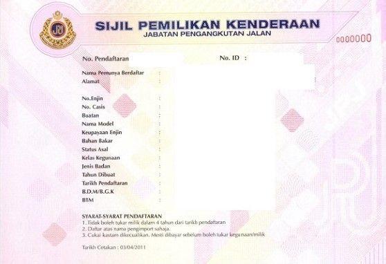 sijil pemilikan kenderaan,VOC,baharu,geran