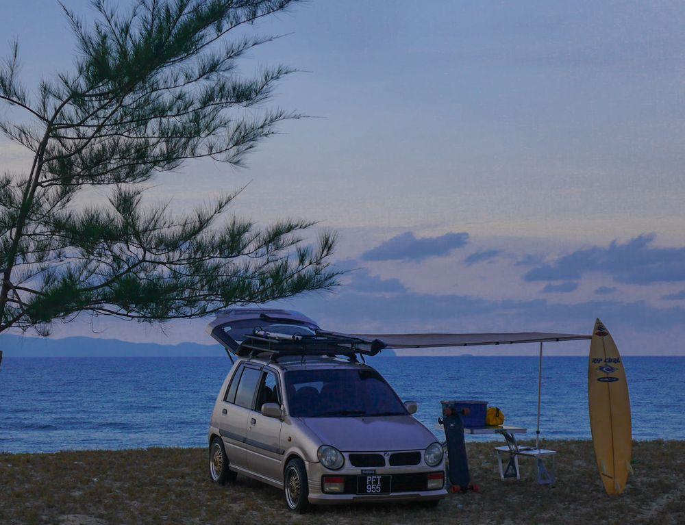 perodua kancil 850cc, campercar, malaysia, pantai