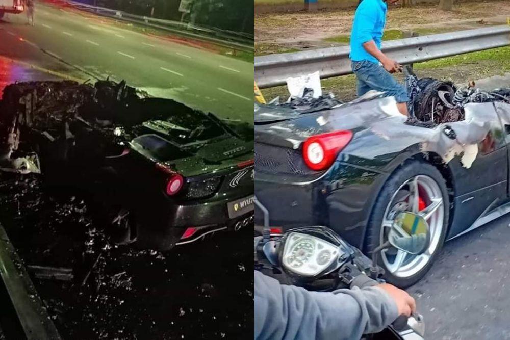 Kebakaran Ferrari ini bermula daripada bahagian enjin sebelum merebak.