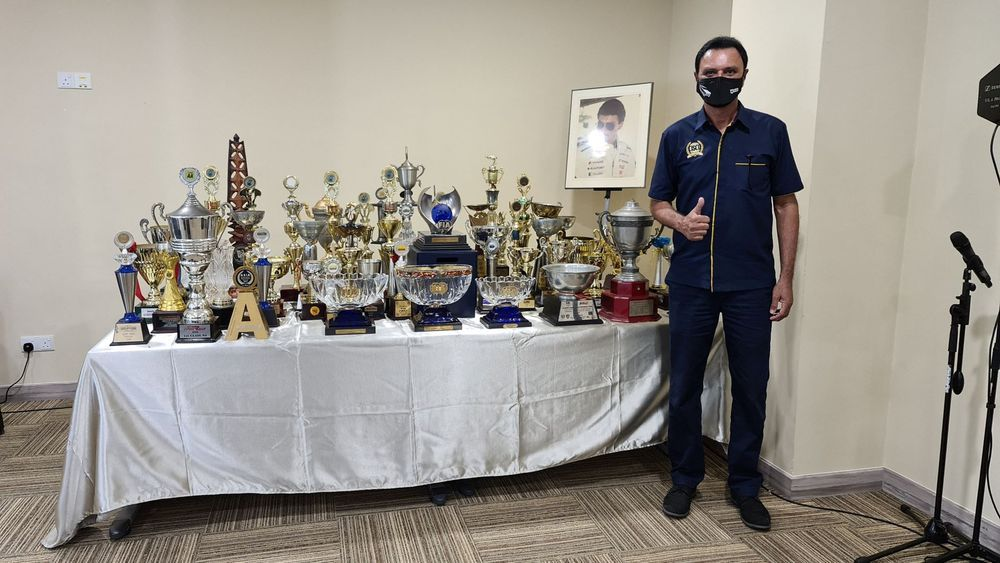 Karamjit Singh and his trophies