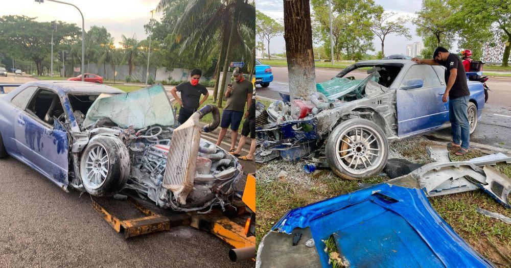 Nissan Skyline GT-T R34,Kemalangan,total lost,johor bahru