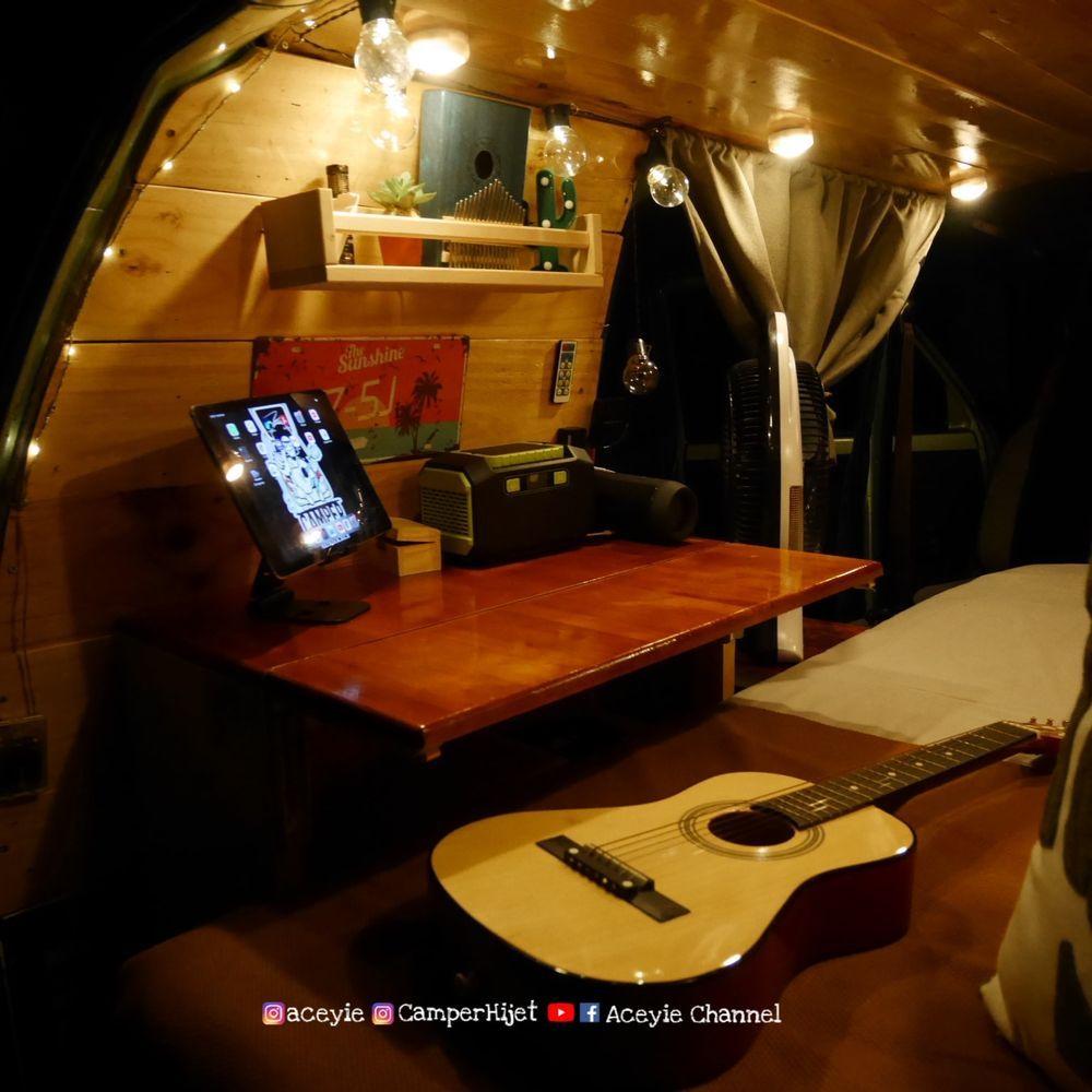 campervan, daihatsu hijet s85 minivan, malaysia, diy, ubahsuai, interior