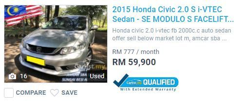 Carlist Qualified 2015 Honda Civic