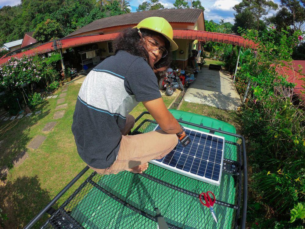 solar panel, tenaga solar, roof basket, campervan