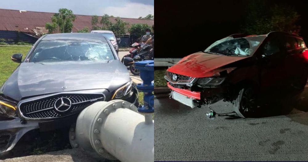 Mercedes-Benz E43 AMG,proton x50,kemalangan,runner,orang tengah,broker