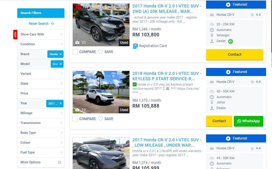 2018 Honda CR-V 2.0L 2WD used prices