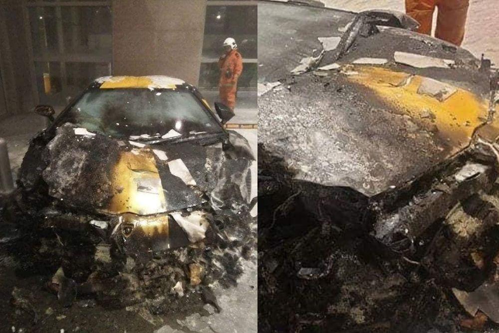 Kebakaran itu memusnahkan bahagian hadapan kereta ini.