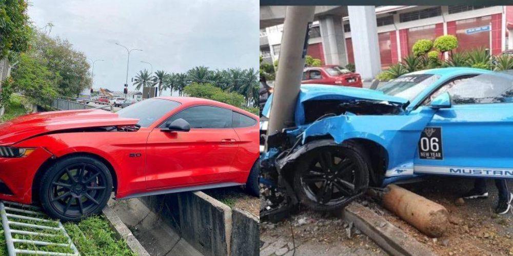 Ford Mustang,kemalangan,terbabas