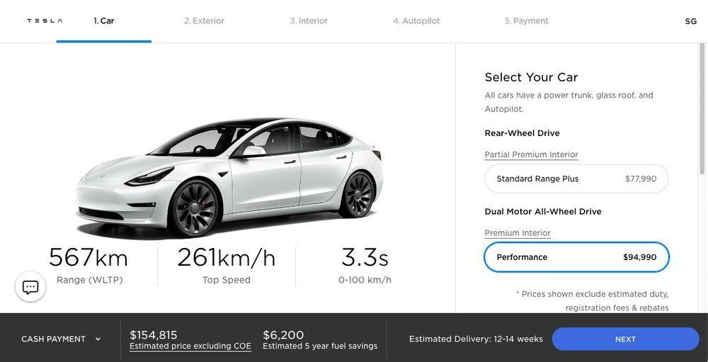 2020 Tesla Model 3 Performance - Singapore