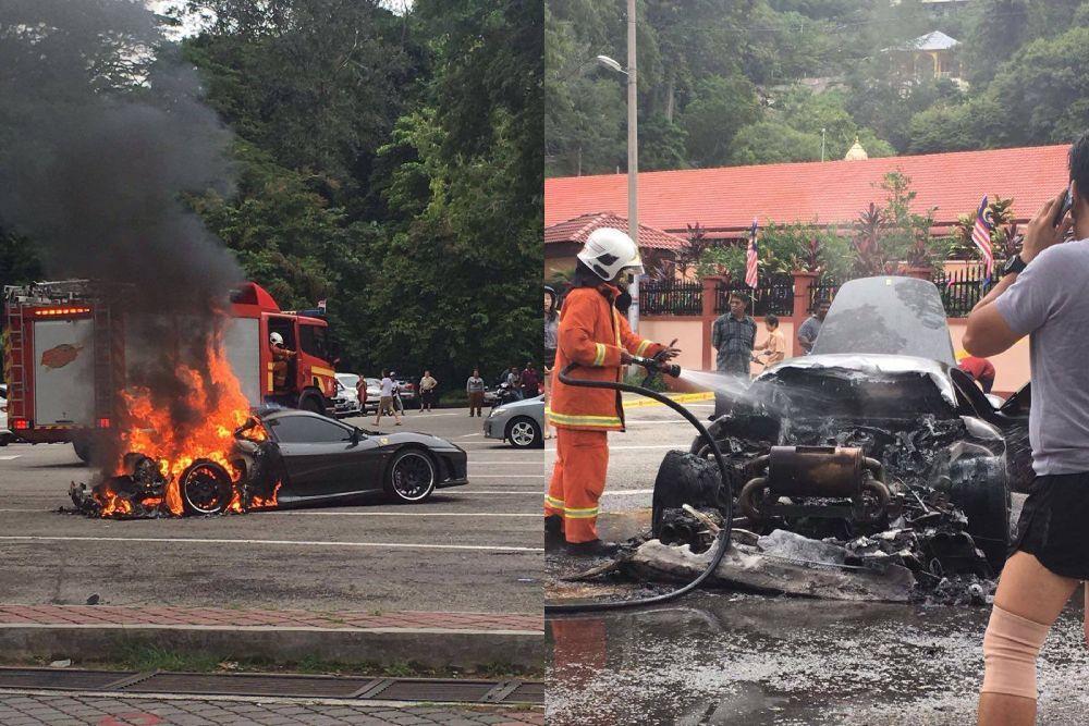 Kebarakan kereta ini berpunca daripada api yang datang daripada bahagian enjin kereta,