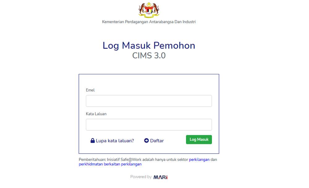 CIMS 3.0,permohonan beroperasi,lockdown 3.0,pkp penuh
