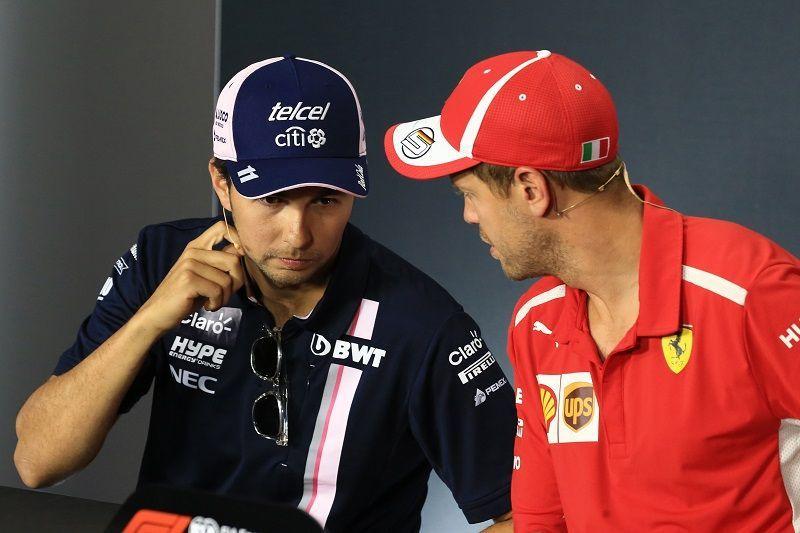 Sergio Perez and Sebastien Vettel