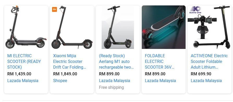 E-scooter prices Malaysia