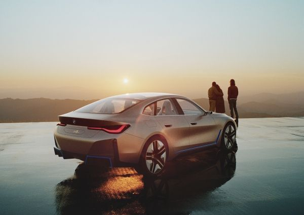 BMW i4 Driving Into The Sunset