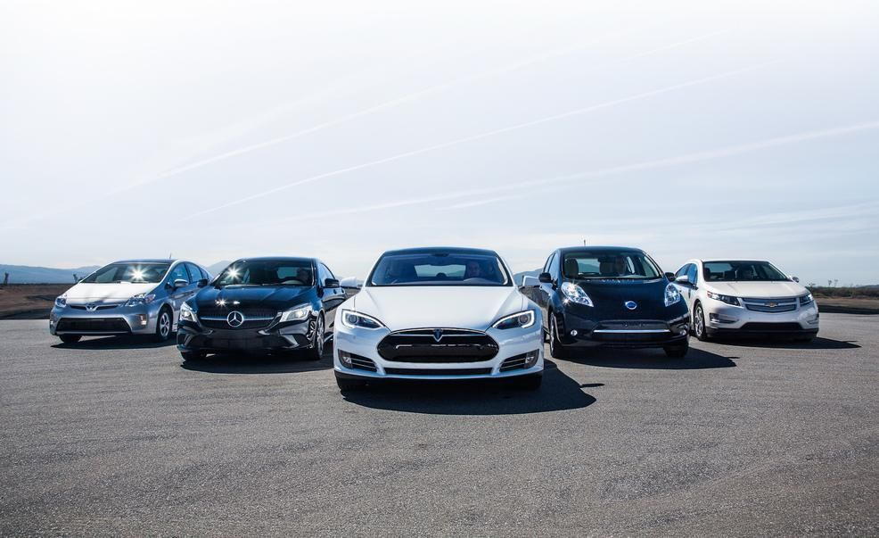 Tesla with other cars
