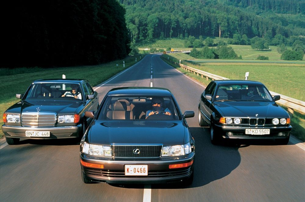 1989 Lexus LS, BMW 7 Series and Mercedes S-Class