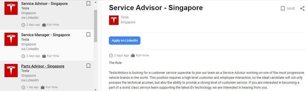 Tesla jobs Singapore