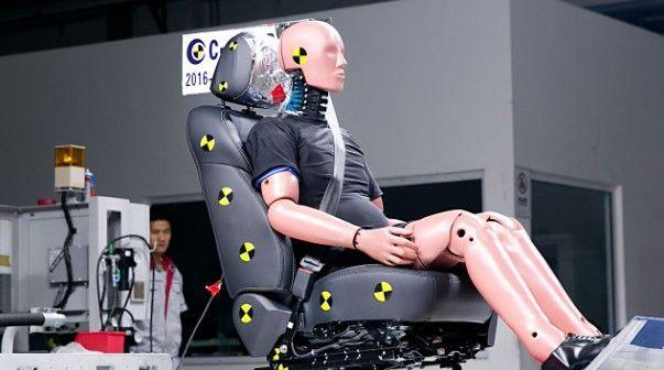 Crash dummy on seat