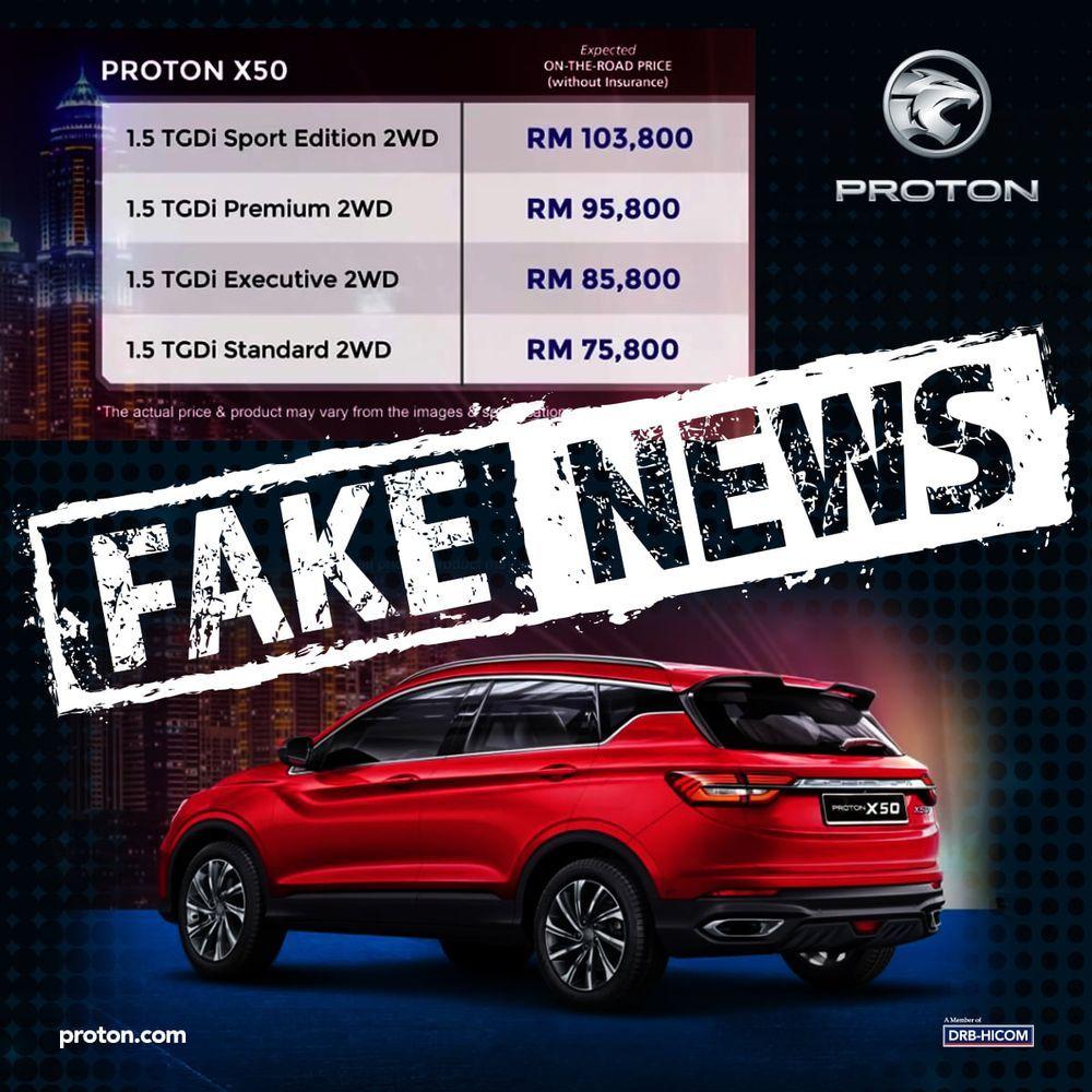 Proton X50 fake pricing