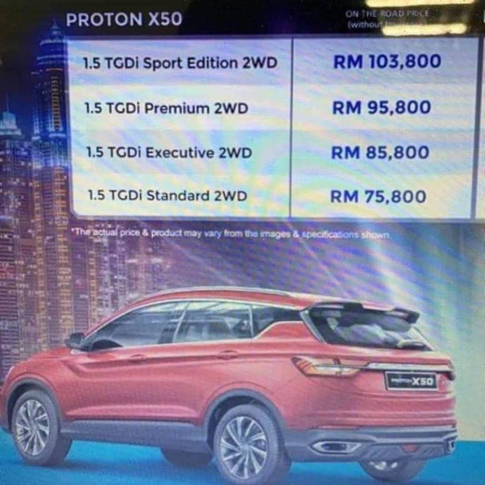 Proton X50 Price List