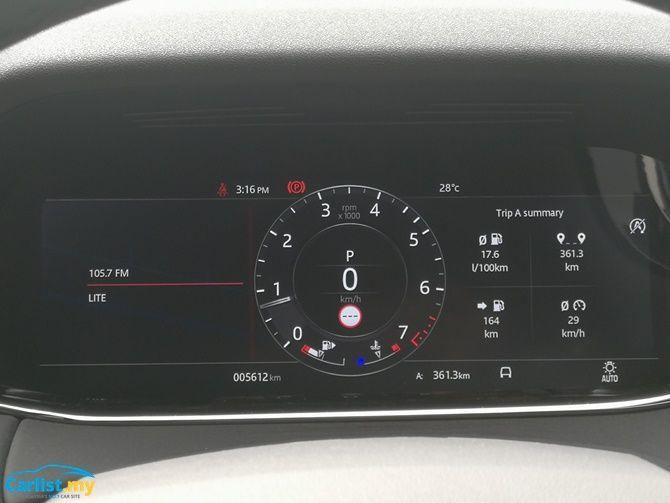 2020 Range Rover Evoque instrument cluster