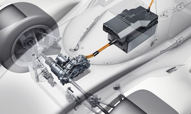 2014 Porsche Motorsport- Porsche 919 Hybrid- Technical Drawing- Hybrid System Front Axles Closeup