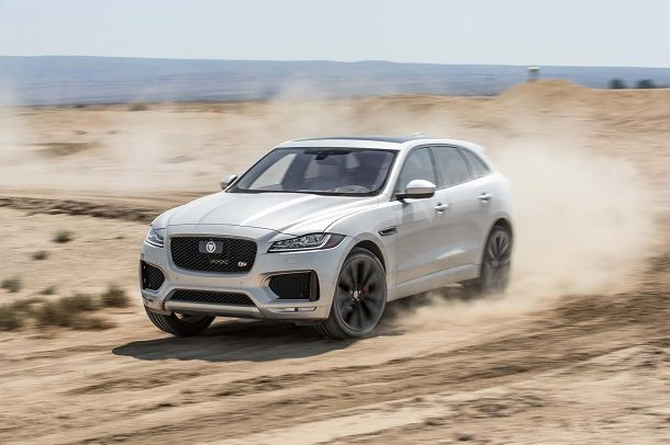 2017-Jaguar-F-Pace-S-AWD-front-three-quarter-in-motion