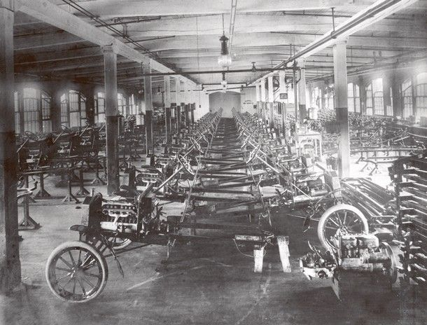 Model Ts under construction at Ford's Piquette Plant, in Detroit, before production was shifted to the moving assembly line at