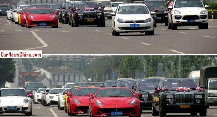 ลองมาชมขบวนรถงานแต่ง ที่จีนกัน สุดอลังด้วย Supercar และ Luxury Car กว่า 25 คัน