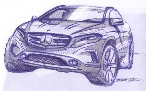 Mercedes-Benz ปล่อยภาพสเก็ตช์ทีเซอร์ 2014 GLA