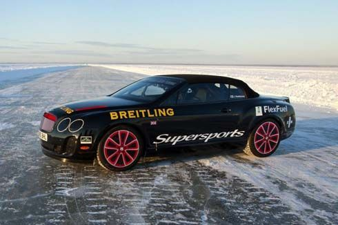 Bentley Continental Supersports Convertible ทำลายสถิติโลกบนน้ำแข็งที่ทะเลบอลติค