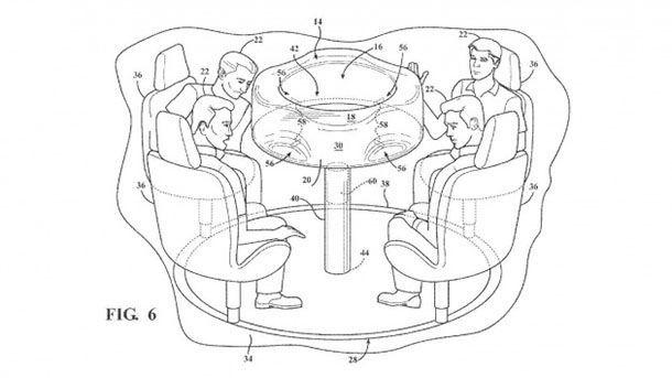 Ford จดสิทธิบัตรโต๊ะพับเก็บได้ในรถยนต์ พร้อมถุงลมนิรภัย