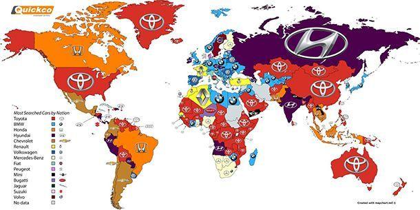 เปิดแผนที่โลก คนค้นหาแบรนด์รถอะไรใน Google มากที่สุด