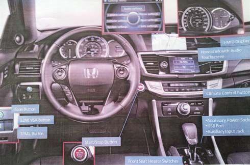 Honda Accord รุ่นปี 2013 หลุดภาพสปายช็อตแรกของภายในห้องโดยสาร