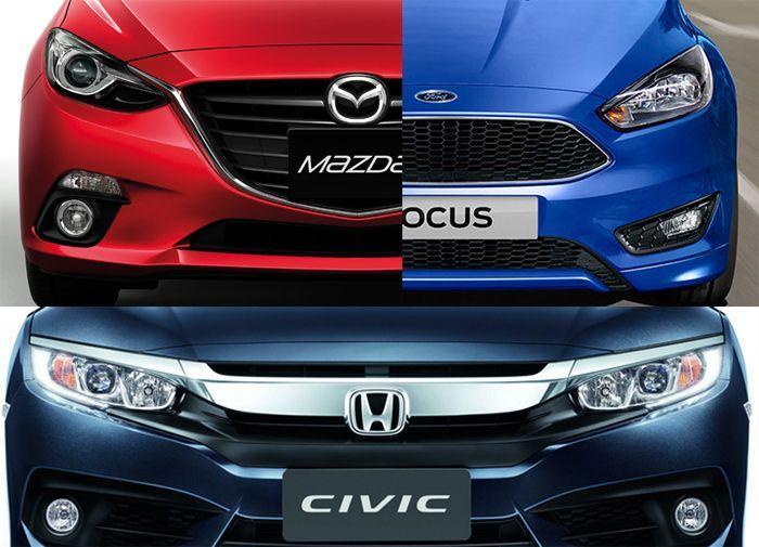 ศึกแห่งเทคโนโลยี! ประลองกำลังรถคอมแพ็กต์ Honda Civic – Ford Focus – Mazda 3