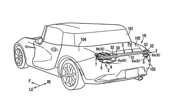 Mazda จดสิทธิบัตรสปอยเลอร์พับเก็บได้ไว้ในกรอบไฟท้าย