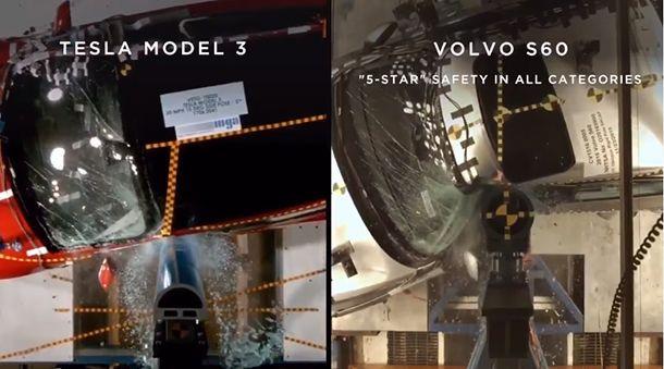 Tesla คุยโว Model 3 ปลอดภัยกว่า Volvo S60