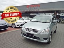 2013 TOYOTA INNOVA 2.0 G AT - 1 YEAR WARRANTY + 1 YEAR FREE SERVICE BY AUTHORIZED TOYOTA DEALER