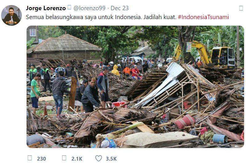 Jorge Lorenzo Tsunami Selat Sunda Indonesia 2018